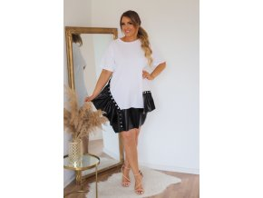 Bielo-čierne tričkové šaty s koženkovým lemom