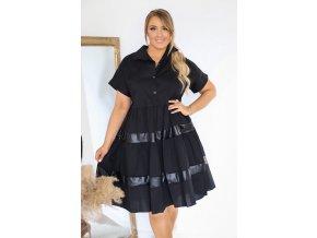 Čierne krátke košeľové šaty s krátkym rukávom
