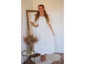 Dlhé voľné biele šaty s odhalenými ramenami