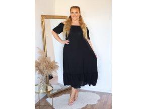 Dlhé voľné čierne šaty s odhalenými ramenami