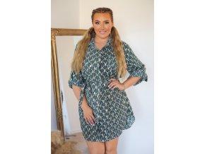 Košeľové šaty s marockým vzorom - zelená