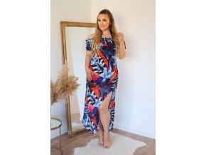 Tmavo-modré kvetinové šaty s rázporkom na sukni