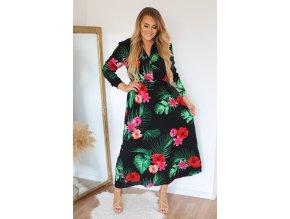 Dlhé šaty s kvetinovým vzorom a gombíkmi