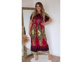 Dlhé bordové šaty s orientálnym vzorom