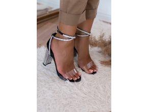 Sandále na vysokom trblietavom podpätku