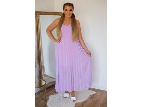 Plisované šaty na ramienka - fialová