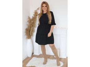 Krátke šaty s prešívanou sukňou a opaskom - čierna