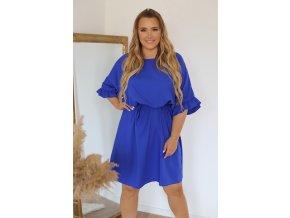 Krátke šaty s gumičkou v páse - modrá