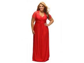 Dlhé červené spoločenské šaty s krajkou na rukávoch