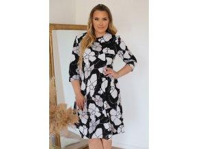 Čierno-sivé šaty s abstraktným vzorom