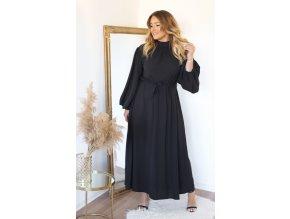Dlhé čierne šaty s balónovými rukávmi