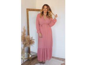 Dlhé ružové bodkované šaty s opaskom