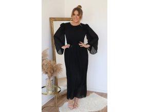 Dlhé čierne šaty so širokými rukávmi