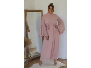 Svetlo-ružové elegantné šaty so širokým rukávom