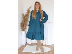 Oversize šaty s dlhým rukávom v petrolejovej