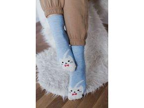 Svetlo-modré ponožky Mačička