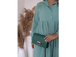 Smaragdovo zelná kabelka so zlatým detailom