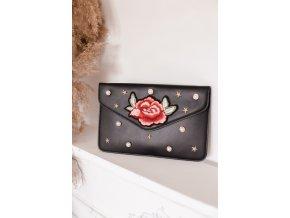 Čierna listová kabelka s ružou