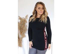 Čierny predĺžený sveter s nápisom