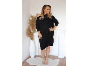 Voľné svetrové šaty v čiernej