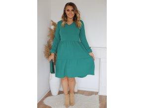 Zelené šaty s dlhým rukávom a výstrihom do V