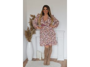 Kvetinové šaty s volánmi vo fialovo-ružovej
