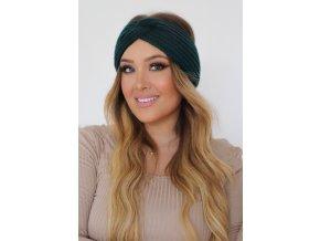 Pletená čelenka v zelenej