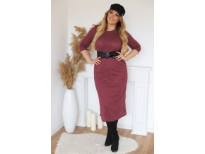 Bordové svetrové šaty s opaskom