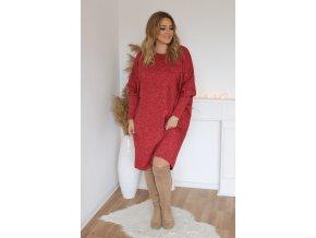 Dámske voľné šaty s dlhým rukávom v červenej