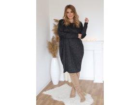 Dámske voľné šaty s dlhým rukávom v čiernej
