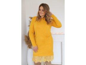 Svetrové šaty s čipkou a vreckami v žltej