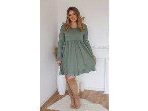 Tričkové šaty s dlhým rukávom v olivovo zelenej