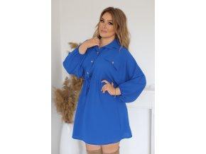Voľné košeľové šaty v modrej farbe