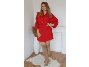 Voľné košeľové šaty v červenej farbe