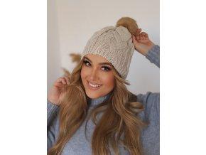 Béžová pletená čiapka s brmbolcom