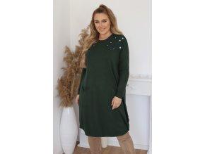 Voľné svetrové šaty s čipkou na ramenách - zelená