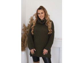 Voľný oversize rolákový sveter v khaki farbe