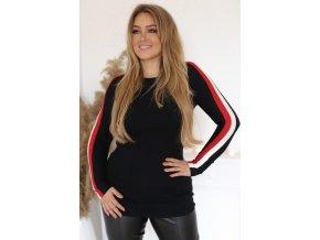 Čierny predĺžený sveter s prúžkom na rukáve