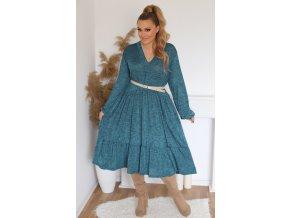 Voľné šaty s výstrihom do V - tyrkysovo modrá
