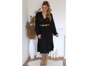 Voľné šaty s výstrihom do V - čierna