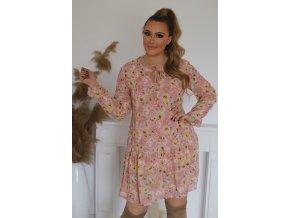 Krátke ružové kvetinové šaty s dlhým rukávom