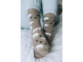 Béžové ponožky s Angorskou vlnou - Polárny medveď