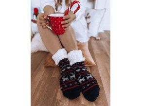 Dámske teplé ponožky s nórskym vzorom