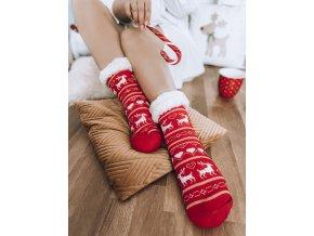 Teplé ponožky s nórskym vzorom - červená