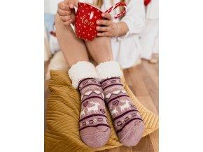 Teplé ponožky s nórskym vzorom - fialová