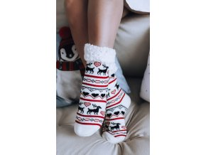 Teplé ponožky s nórskym vzorom - biela