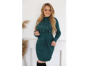 Elastické svetrové šaty s perlami a opaskom v zelenej