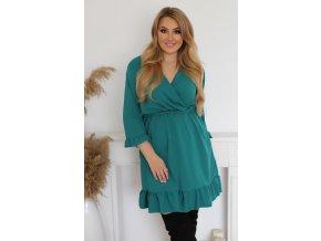 Krátke zelené šaty s volánom