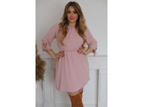 Krátke šaty s mašličkami na rukávoch - svetloružová