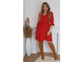 Krátke červené šaty s výstrihom do V